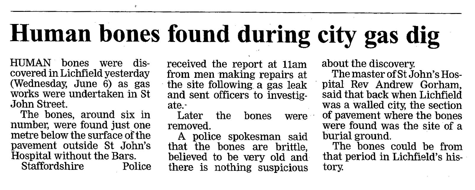Human bones found during city gas dig