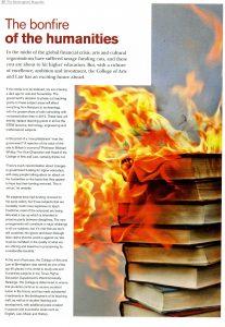 Bonfire of the Humanities article for University of Birmingham alumni magazine