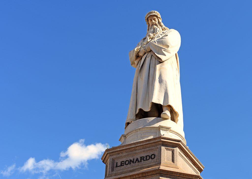 Leonardo da Vinci statue in Milan.