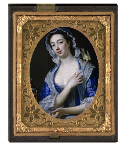 Oil portrait of Mrs Woffington by Van Loo, canary flying over left shoulder