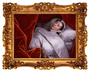 Oil painting of Peg Woffington in bed after her paralysis in elaborate gold frame